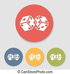 Flat dice icons set - Flat dice in colorful circle icons...