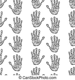 Hand drawn handprints seamless pattern monochromic vector