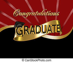 Congratulations Graduate graphic - red and black digital art...
