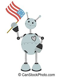 4th of July Flag holding springy ro - Happy Gray Robot...