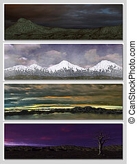 four different fantasy landscapes for banner, background or...