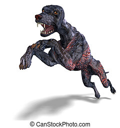 creepy alien dog out of hell 3D rendering with clipping path...