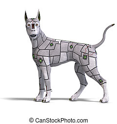 electronical scifi dog of the future. 3D rendering with clipping path and shadow over white