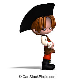 sweet and funny cartoon pirate with hat 3D rendering with...
