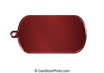 red carbon fiber dog tag on isolated white background. 3d...