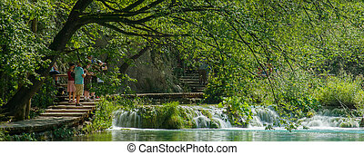 Wooden path in Plitvice in Croatia