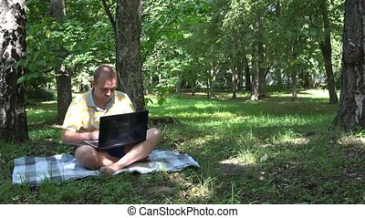 Freelancer self employed male using laptop 4K - Freelancer...