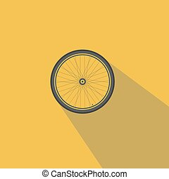 Bicycle wheel On a yellow background detached