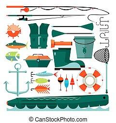Big set of fishing elements. Flat design. Fishing hooks, rod...