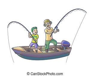 Father with his son are fishing with boat.