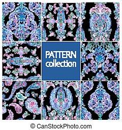 Paisley Indian or turkish persian seamless pattern set...