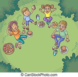 Happy family having picnic outdoors.