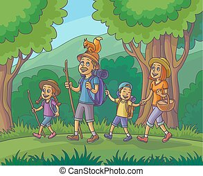 Happy family is hiking in the forest.
