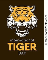 International Tiger day poster template with angry tiger...