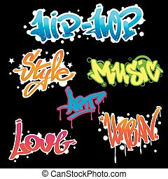 Urban collection of Graffiti art. - Graffity lettering Urban...