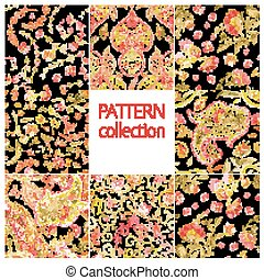 Paisley Indian or turkish persian seamless pattern set....