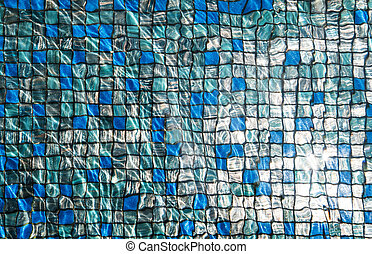 Blue mosaic tiles with reflection - Blue mosaic tiles under...