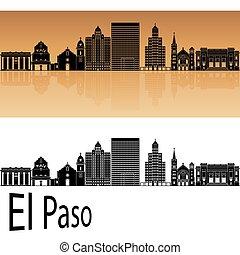 El Paso skyline.eps - El Paso skyline in orange background...