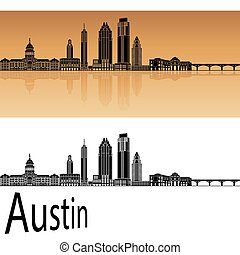 Austin Skylineeps - Austin skyline in orange background in...