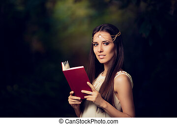Fairy Princess Girl Reading Book - Magic portrait of...