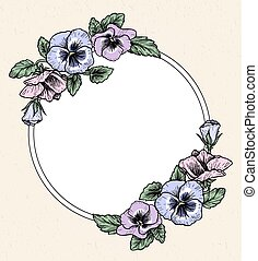 Frame with hand drawn pansy flowers