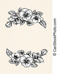 Frame with hand drawn pansy flowers, vector illustration...