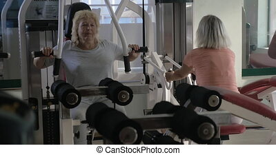 Senior women training on exercisers in the gym - Two senior...