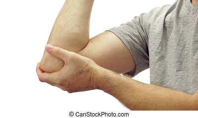 Male Elbow Pain Isolated on White - Closeup of an anonymous...