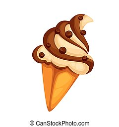 Colorful tasty ice cream. Isolated on white. Vector...
