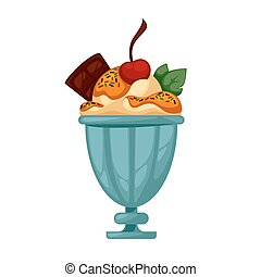 Colorful tasty ice cream Isolated on white Vector...