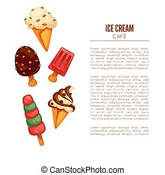 Colorful tasty ice cream. Ice cream cafee poster or menu...
