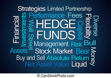 Hedge Funds Word Cloud on Blue Background