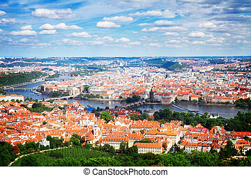 Prague from above - cityscaspe of Prague from above, Czech...
