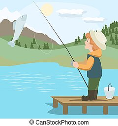 boy catching fish with rod