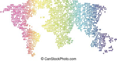 Vector halftone letters world map. Continents for your design.