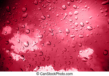 Red  background with drop water