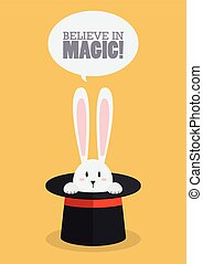 Magic top hat with rabbit Vector Illustration