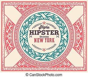 Hipster card, ornaments and floral details, Layered vector