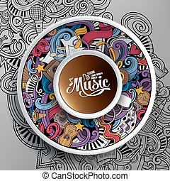 Cartoon hand-drawn doodles Musical cup of coffee
