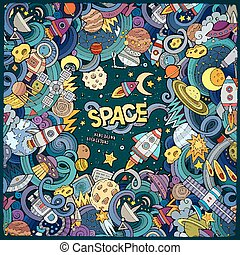 Cartoon cute doodles hand drawn space illustration. Colorful...