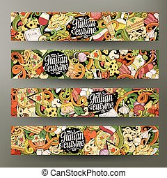 Cartoon hand-drawn doodles italian food banners - Cartoon...