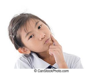 Asian girl in unform thinking something on white.