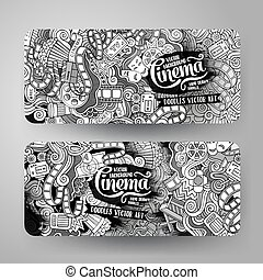 Cartoon vector doodles cinema banners