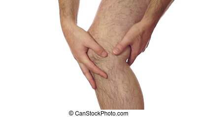 Male Knee Pain Isolated on White - Closeup of an anonymous...