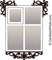 Window with carvedarchitraves - Vector window with...