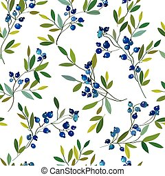 Blueberry seamless graphic pattern Vector hand drawn...