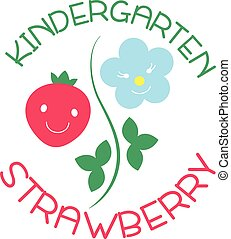 Logo for kindergarten and Family Day Care. Strawberry....