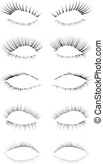 Eyelashes Set - Five different eyelashes in an editable...