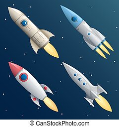Cartoon Rocket Start Up Launch Symbol New Businesses...