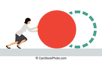 Benchmarking concept illustration, vector Woman pushes the...